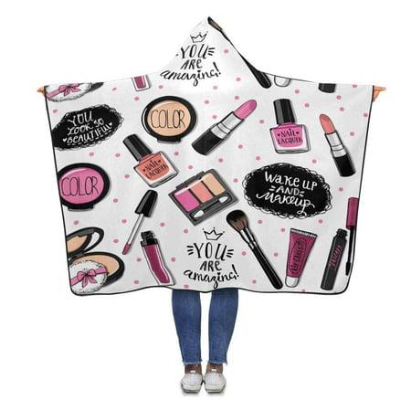 ASHLEIGH Funny Cosmetics Pattern Hooded Blanket 56x80 inches Adults Girls Boys Polar Fleece Blankets Throw Wrap