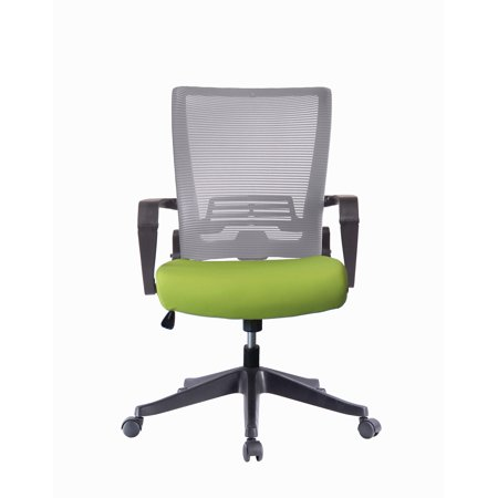 (ImpecGear Ergonomic Office Chair High Back Mesh with Adjustable Lumbar Support Headrest and Folded Mesh Back,No Tools Need for Install (Custom Seat Fabric - Green with Grey Mesh))