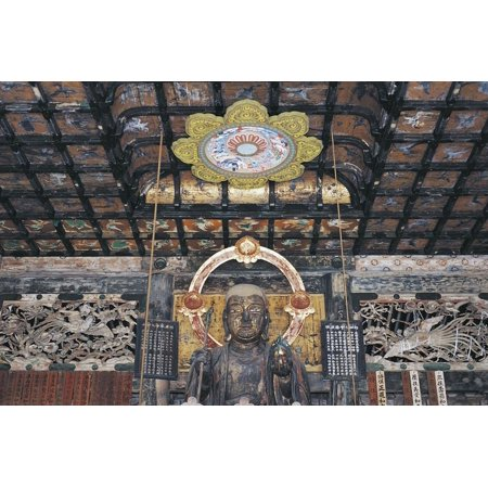 Coffered Ceiling and Wooden Statue of Buddha, Kenchoji Zen Temple, Kamakura, Japan, 13th Century Print Wall Art