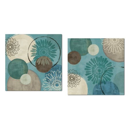 Lovely Teal and Brown Abstract Circle Patterned Set by Daphne Brissonnet; Two 12x12in Poster (Lovely Word Print)