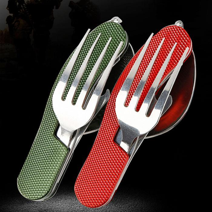 Easy Carry Stainless Steel Folding Spoon Fork Knife Bottle Opener Outdoor Camping Utensil BEDTS