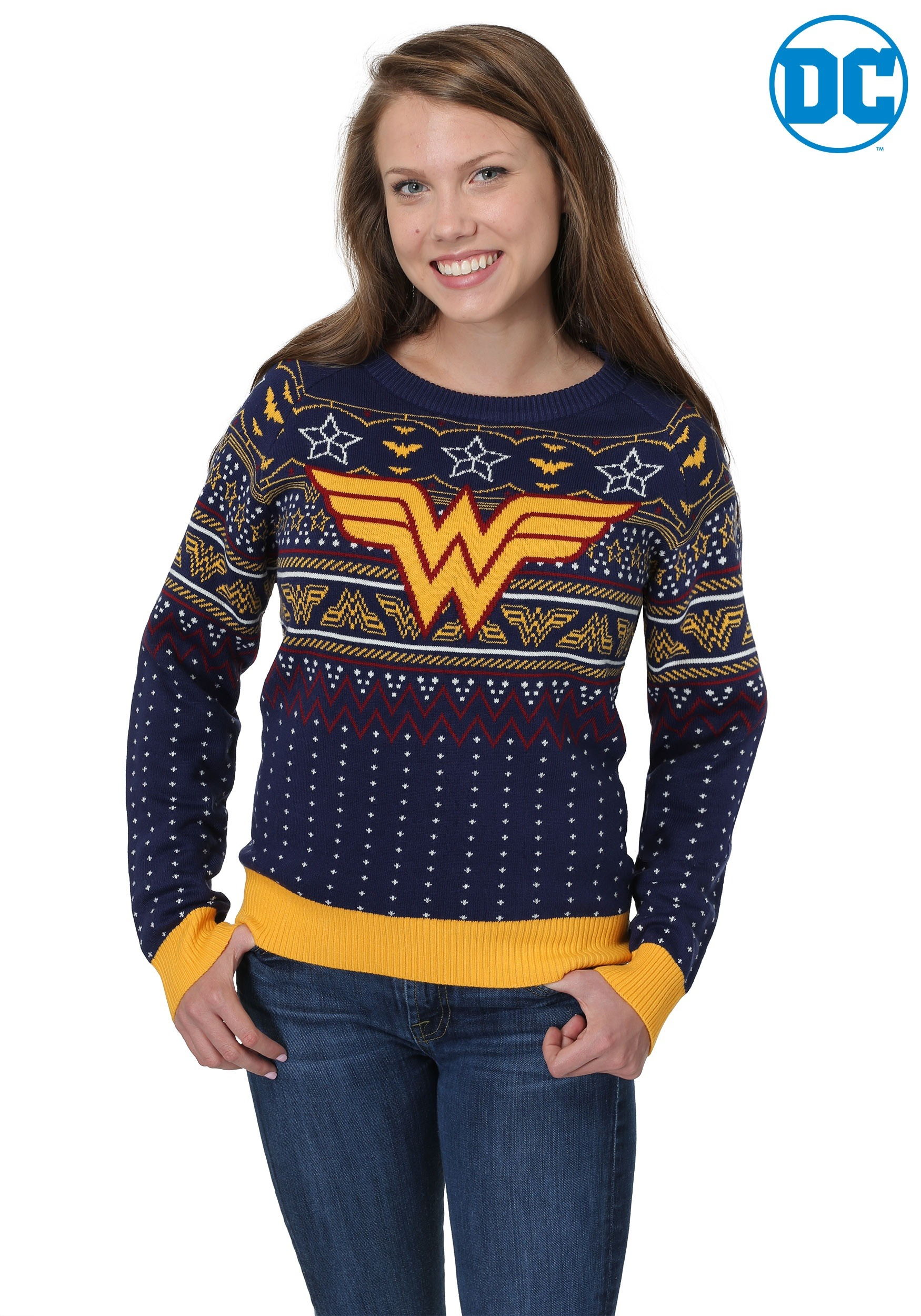 Wonder Woman Navy Womens Ugly Christmas Sweater