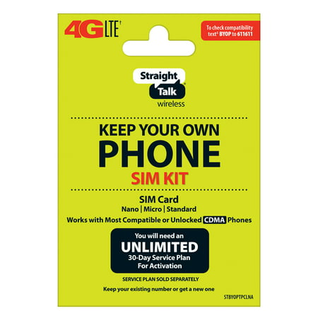 Straight Talk SIM Card for Verizon Tower CDMA Network 3-in1 Cut (/Nano/Micro/Standard) ()