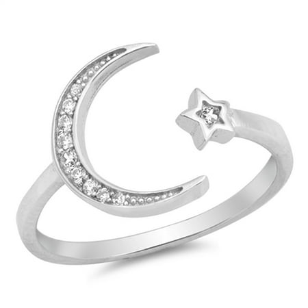 Open Moon Star Cute Fashion White CZ Ring .925 Sterling Silver Band Size 5