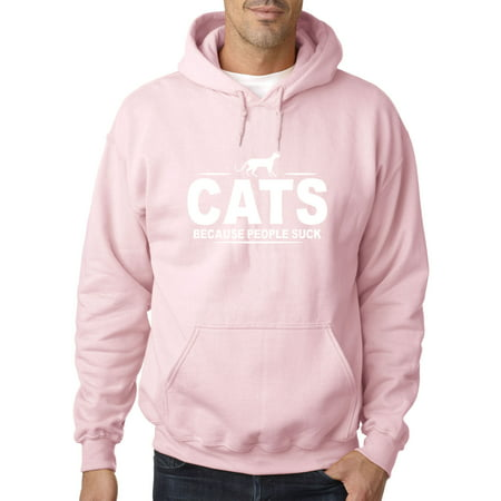 Sucks Adult Sweatshirt - New Way 1129 - Adult Hoodie Cats Because People Suck Funny Humor Sweatshirt Large Light Pink
