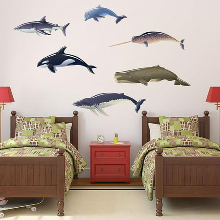 Whales Dolphin And Shark Wall Decal By Style & Apply - Wall Sticker, Vinyl Wall Art, Home Decor, Wall Mural - Sd4058 - 24X13 (Shrek Wall Decals)