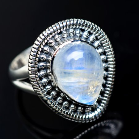 Rainbow Moonstone Ring Size 7 (925 Sterling Silver)  - Handmade Boho Vintage Jewelry RING942428