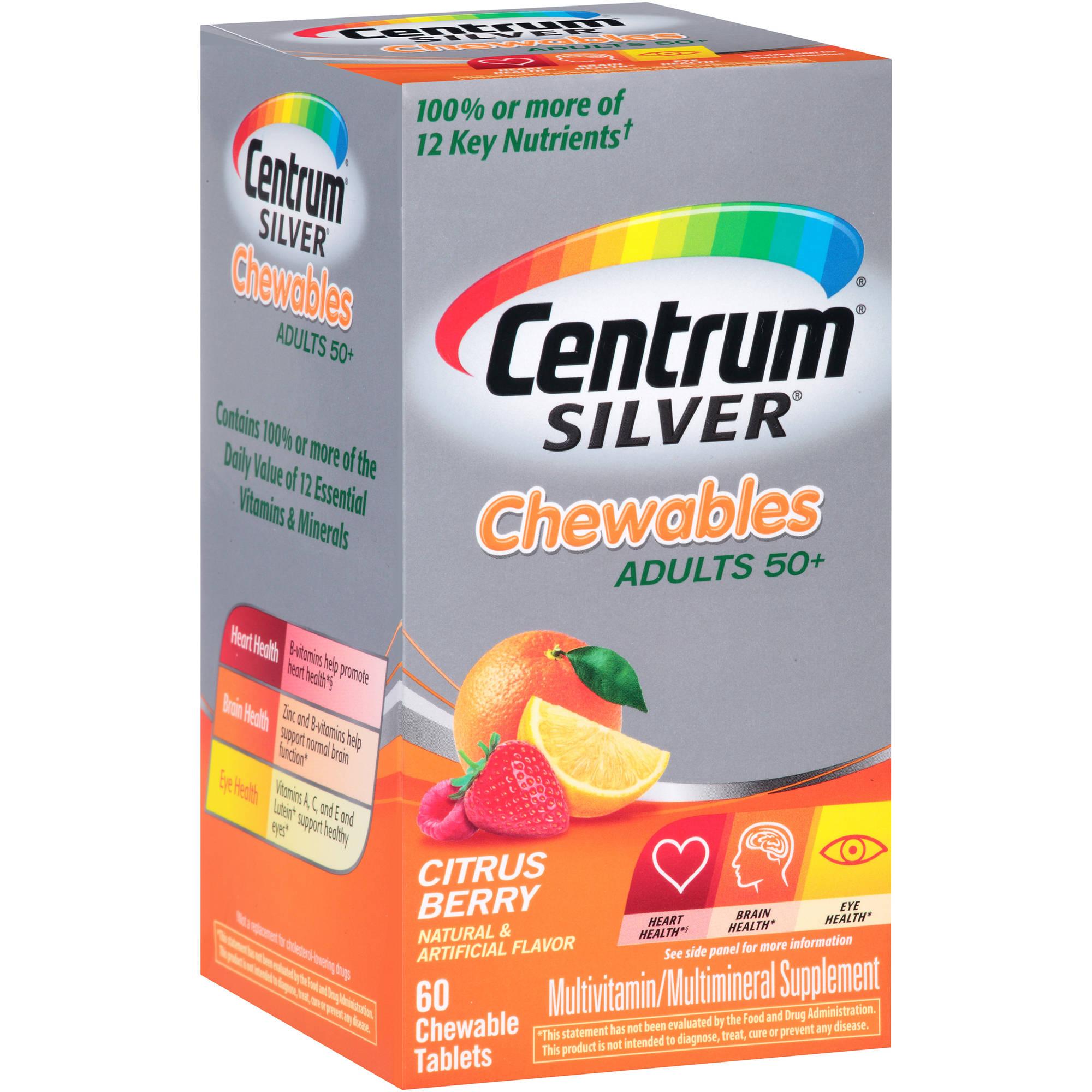 Centrum Silver Chewable Multivitamin/Multimineral Supplement in Citrus Berry Flavor 60 Count