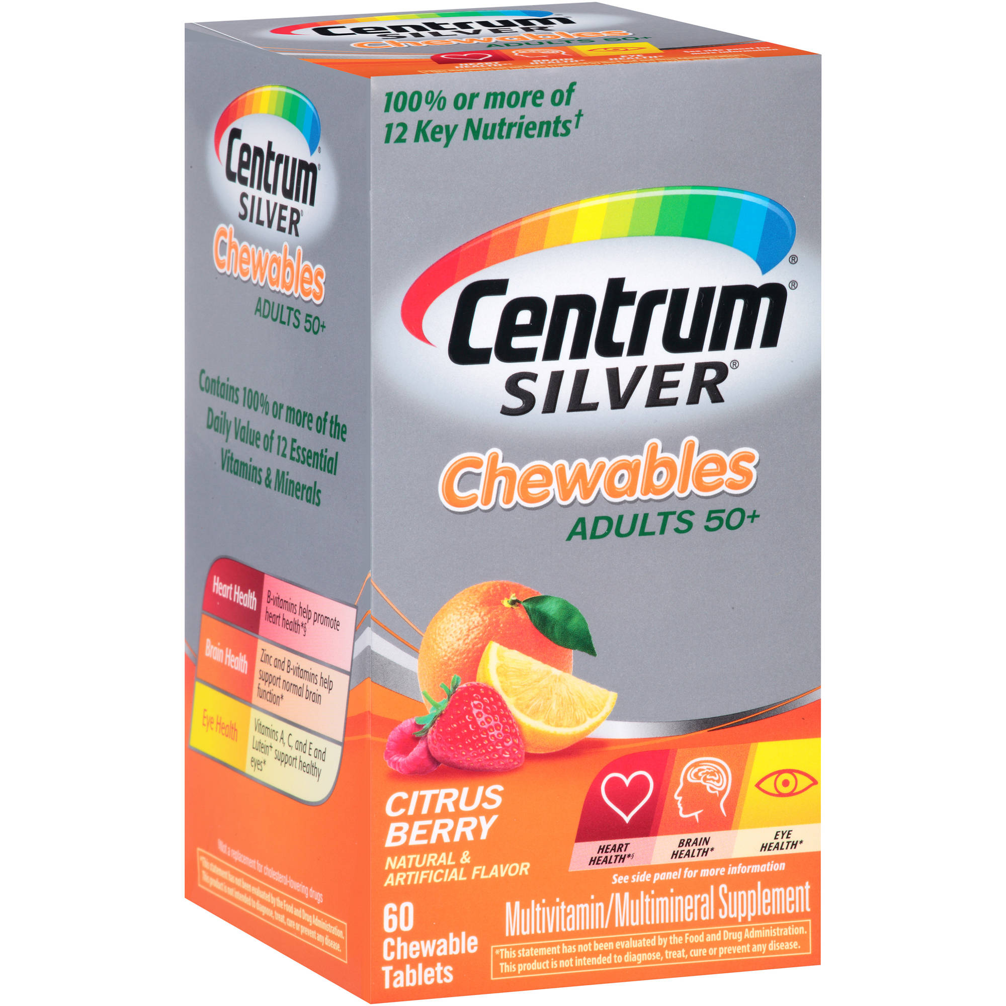 Centrum Silver Chewable Multivitamin/Multimineral Supplement in Citrus Berry Flavor 60 Count