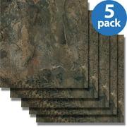 Nexus (5 Cartons-100 Tiles) 12x12 Dark Slate Marble Self Adhesive Vinyl Floor Tiles-100 sq. ft.