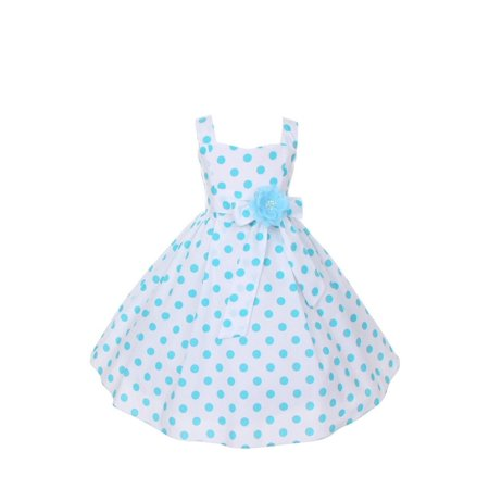 Little Girls Aqua Polka Dots Easter Flower Girl Dress 2