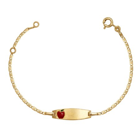14k Yellow Gold 5.75 Inch Red Apple Enamel Baby Id (Yellow Gold Enameled Apple)