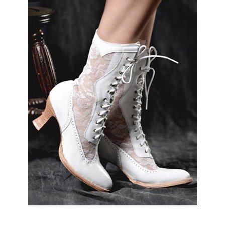 Women Victorian Mid-Calf Lace Up High Heel Leather Boots (Ladies Heel Boots)