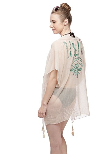 Womens Fashion Stylish Embroidery Design Bikini Cover Up Wear (Beige/Mint)