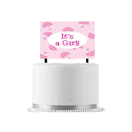 Girl Baby Shower Banner (Its a Girl Baby Shower Umbrella Cake Decoration)