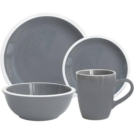 Mainstays Hadleigh 16-Piece Dinnerware Set, Grey Flannel - Walmart.com