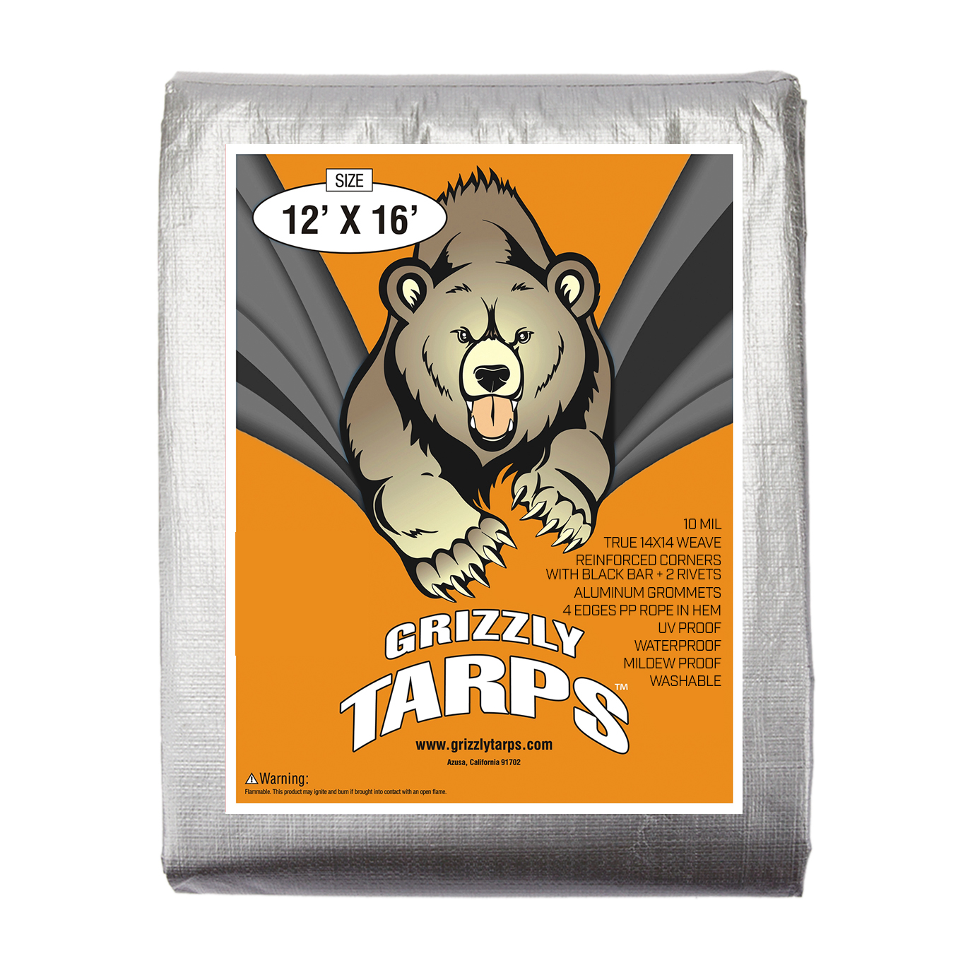 Grizzly Tarps 12 x 16 Feet Silver Heavy Duty Multi Purpose Waterproof Poly Tarp Cover 10 Mil Thick 14 x 14 Weave