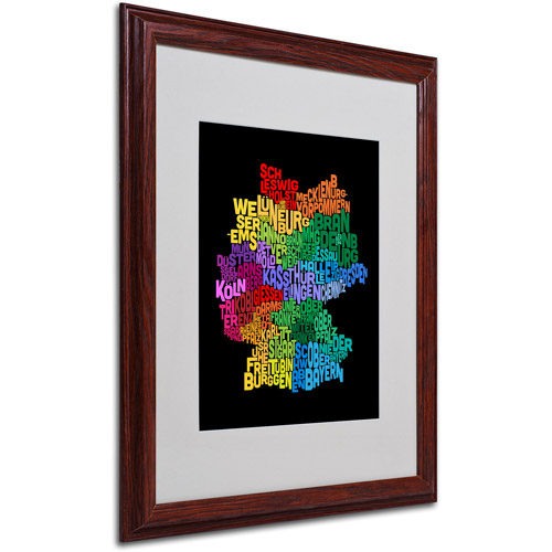 "Trademark Fine Art ""Germany Region Text Map 3"" Matted Framed by Michael Tompsett"