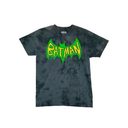 DC Comics Batman Mens Joker Graffiti Batsymbol Tie Dye Graphic Tee T-Shirt - Joker Tie