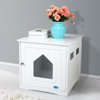 Jaxpety Cat Washroom Litter Box Cover Cat House Side Table Pet Nightstand Indoor Pet Crate Enclosure White