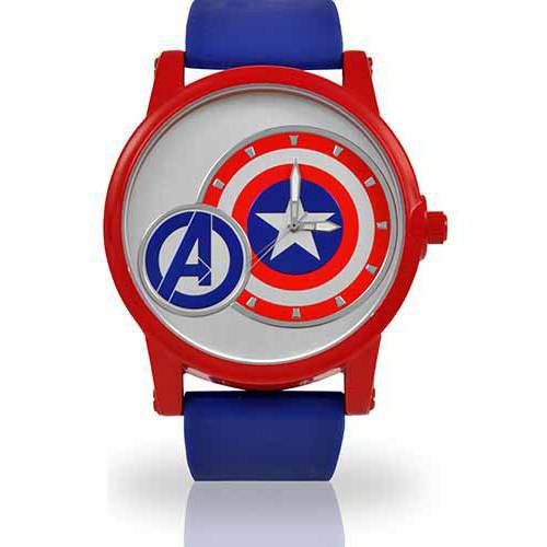 Men's Marvel Captain America Watch, Blue PU Strap