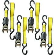 "1"" x 15' Ratchet Tie-Down, 500 lbs Working Load Limit, S-Hook, 4pk, L-Tray"