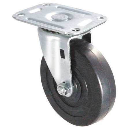 Swivel Plate Caster,Rubber,2 in.,75 lb,D ZORO SELECT 1UHH5