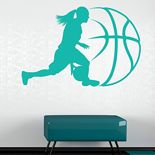 Lady Basketball Wall Decal - Wall Sticker, Vinyl Wall Art, Home Decor, Wall Mural - SA3047-16in x 10in-Beige