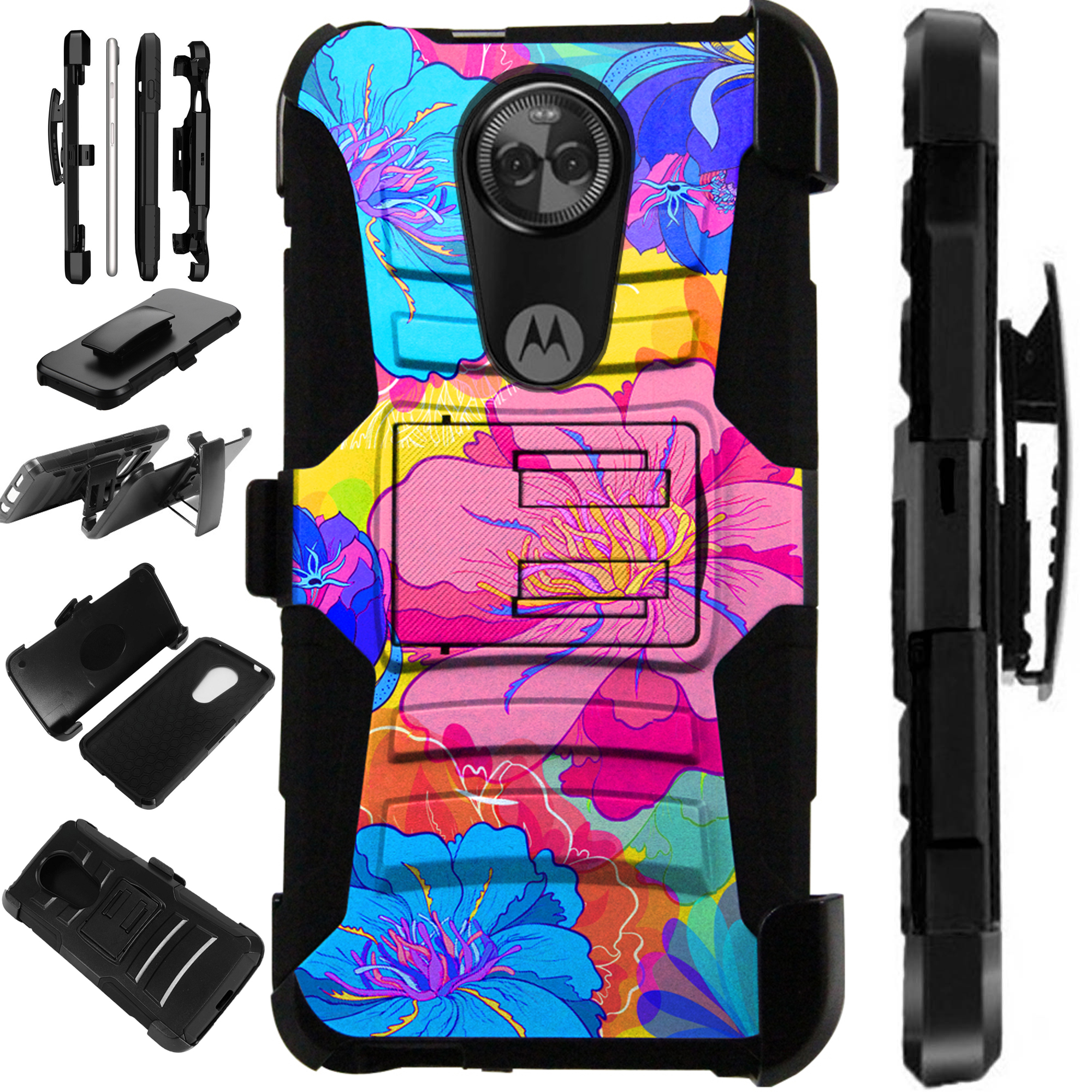 For Motorola Moto G6 Case Armor Hybrid Silicone Cover Stand LuxGuard Holster (Yellow Hibiscus Flower)