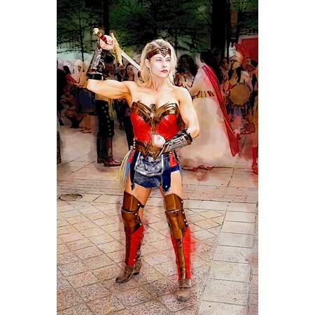 Canvas Print Muscles Sword Cosplay Wonder Woman Woman Costume Stretched Canvas 10 x 14 (Lady Deadpool Cosplay For Sale)