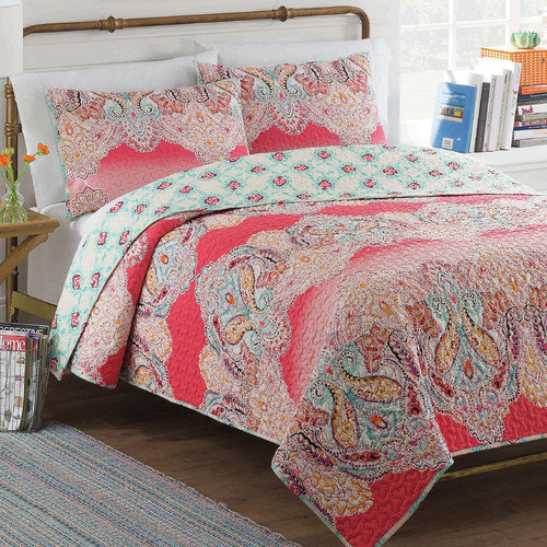 vue dreamcatcher reversible 2-piece bedding quilt set, multi-color