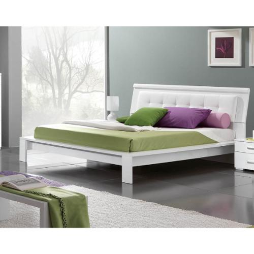 Luca Home  Contemporary White Platform Bed