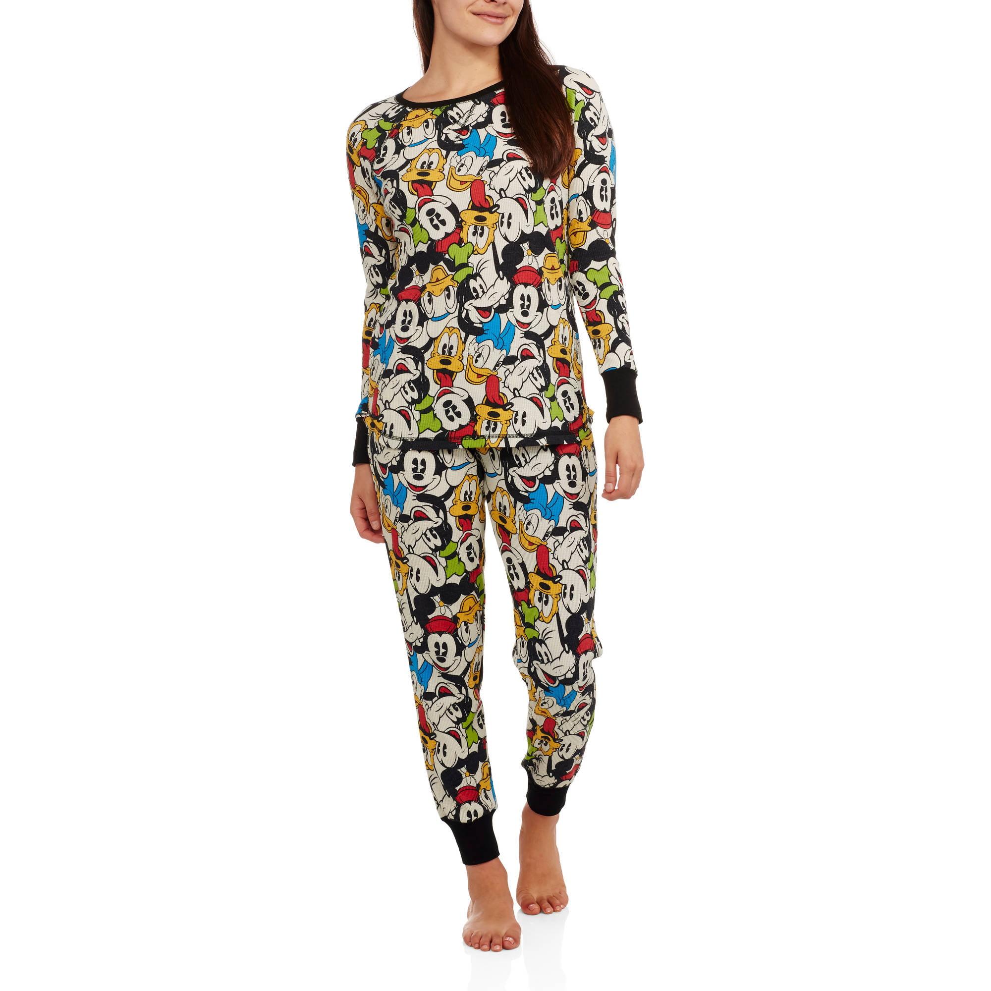 Mickey & Minnie Women's License Pajama Thermal Sleep Top and Pant 2 Piece Sleepwear Set