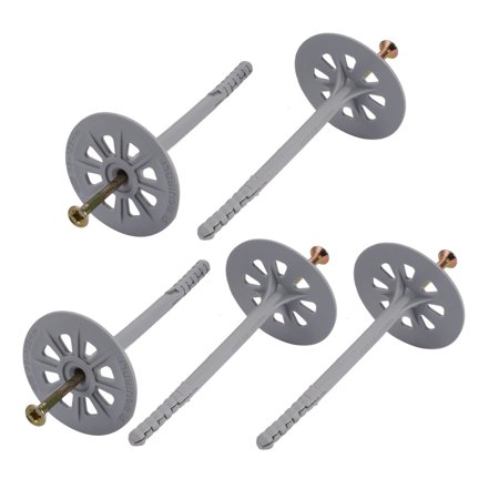 Unique Bargains 5 pcs M8mmx122mm Flanged Head Nylon Drywall Anchor w Iron Zinc Plated Nail