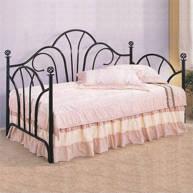 Bowery Hill Twin Metal Day Bed with Pop-Up Trundle in Black by Bowery Hill
