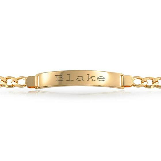 0650157726fa7 Cuban Curb Link Engravable ID Identification Bracelet For Men For Women 180  Gauge 18K Gold Plated Brass