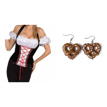 Oktoberfest German Beer Garden Girl Corset Top Bavarian Maid Adult Costume Shirt