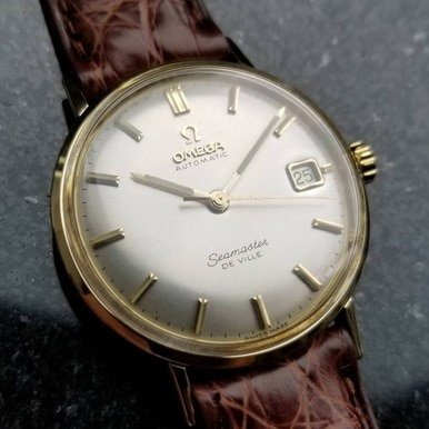Geneve Mens Solid Gold Watch (Omega Seamaster Deville Solid 14k Gold Swiss 1960s Automatic Mens Watch LV318)