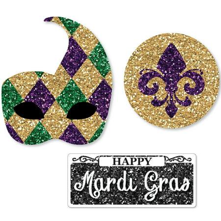 Blue Mardi Gras Crystal (Mardi Gras - DIY Shaped Masquerade Party Cut-Outs - 24 Count)