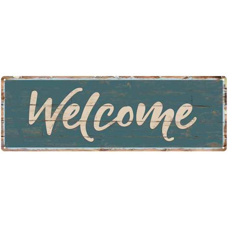 Outdoor Welcome Sign - Welcome Beach Style Wood Look Sign Gift Green 8x24 Metal Decor 108240086008