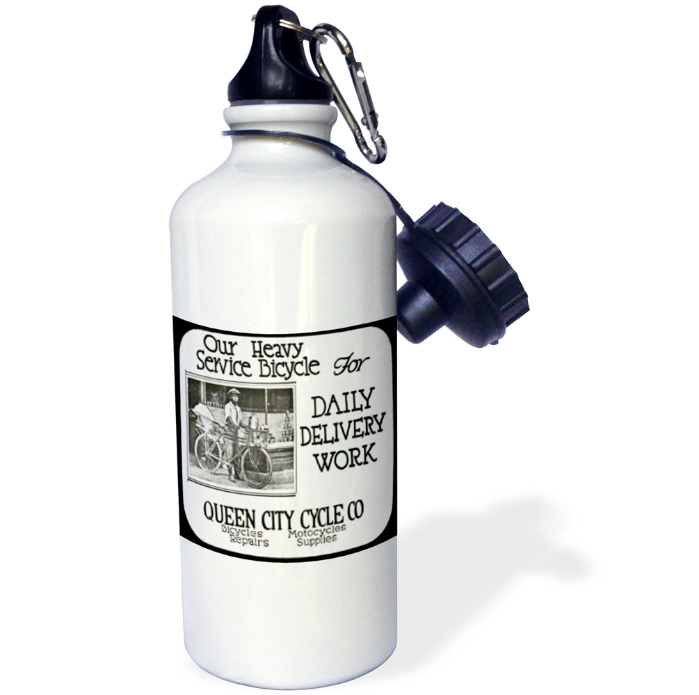 3dRose Queen City Bicycle Shop Advertisment 3, Sports Water Bottle, 21oz