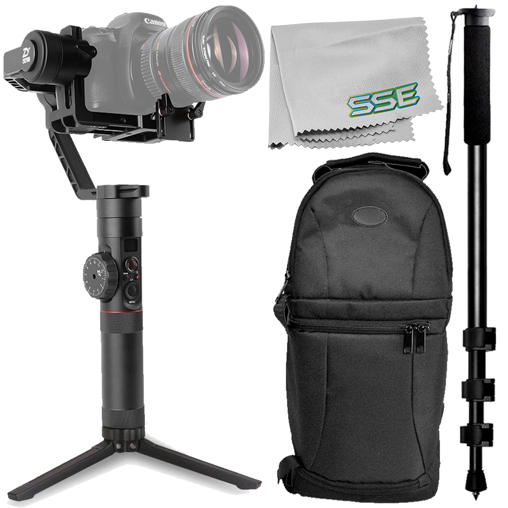 """Zhiyun-Tech Crane Plus Handheld Gimbal Stabilizer 4PC with Sling Backpack +  72"""" Monopod with Quick Release + Microfiber Cleaning Cloth - Walmart.com e82035e5db0f6"""