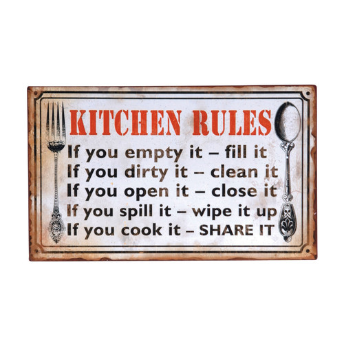 Wilco Home ''Kitchen Rules'' Textual Art Plaque