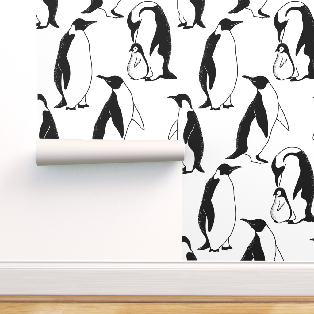 Removable Water-Activated Wallpaper Animals Wildlife Cute Penguin Black And