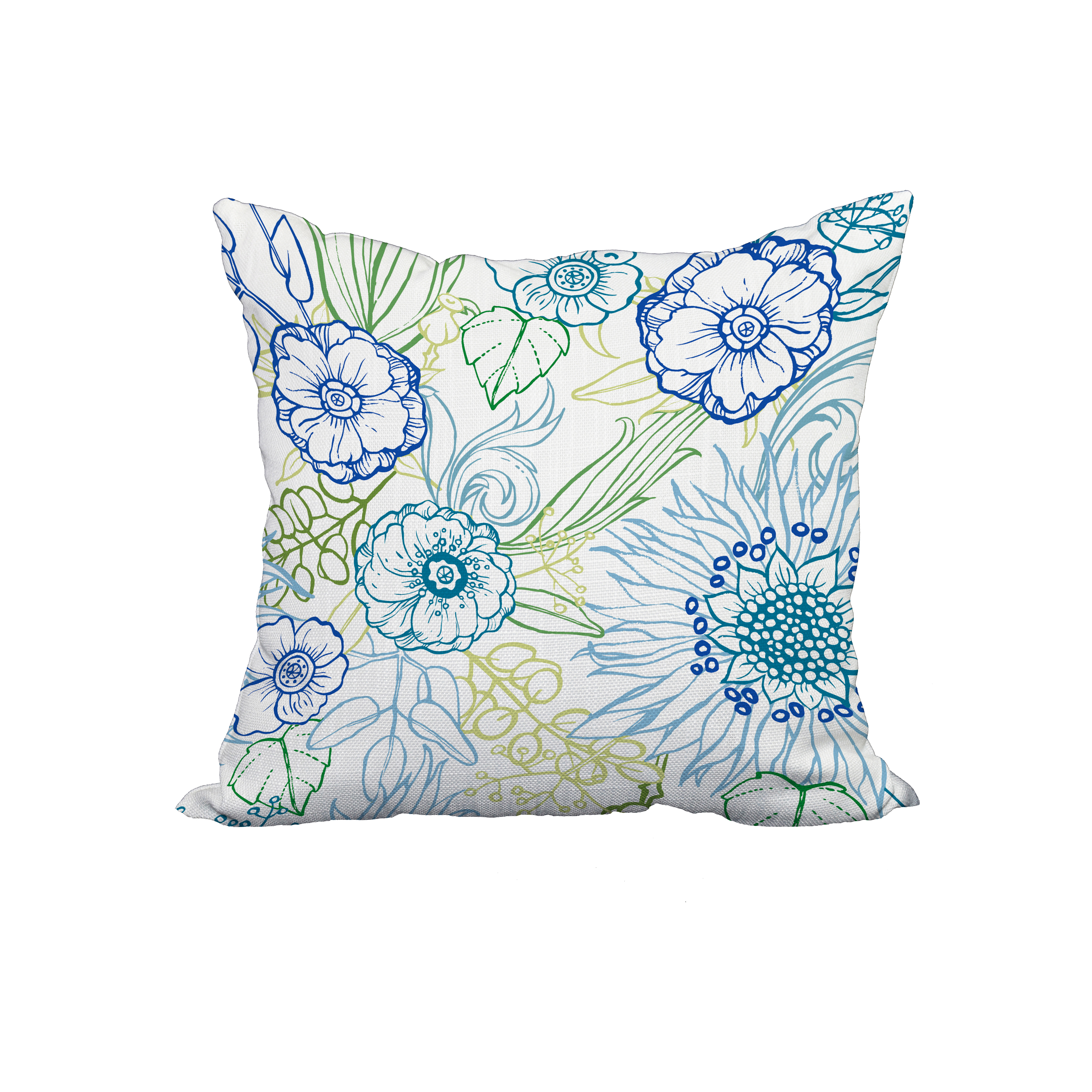 18 x 18 Inch Zentangle 4 Color Blue Floral Print Decorative Polyester Throw Pillow with Linen Texture
