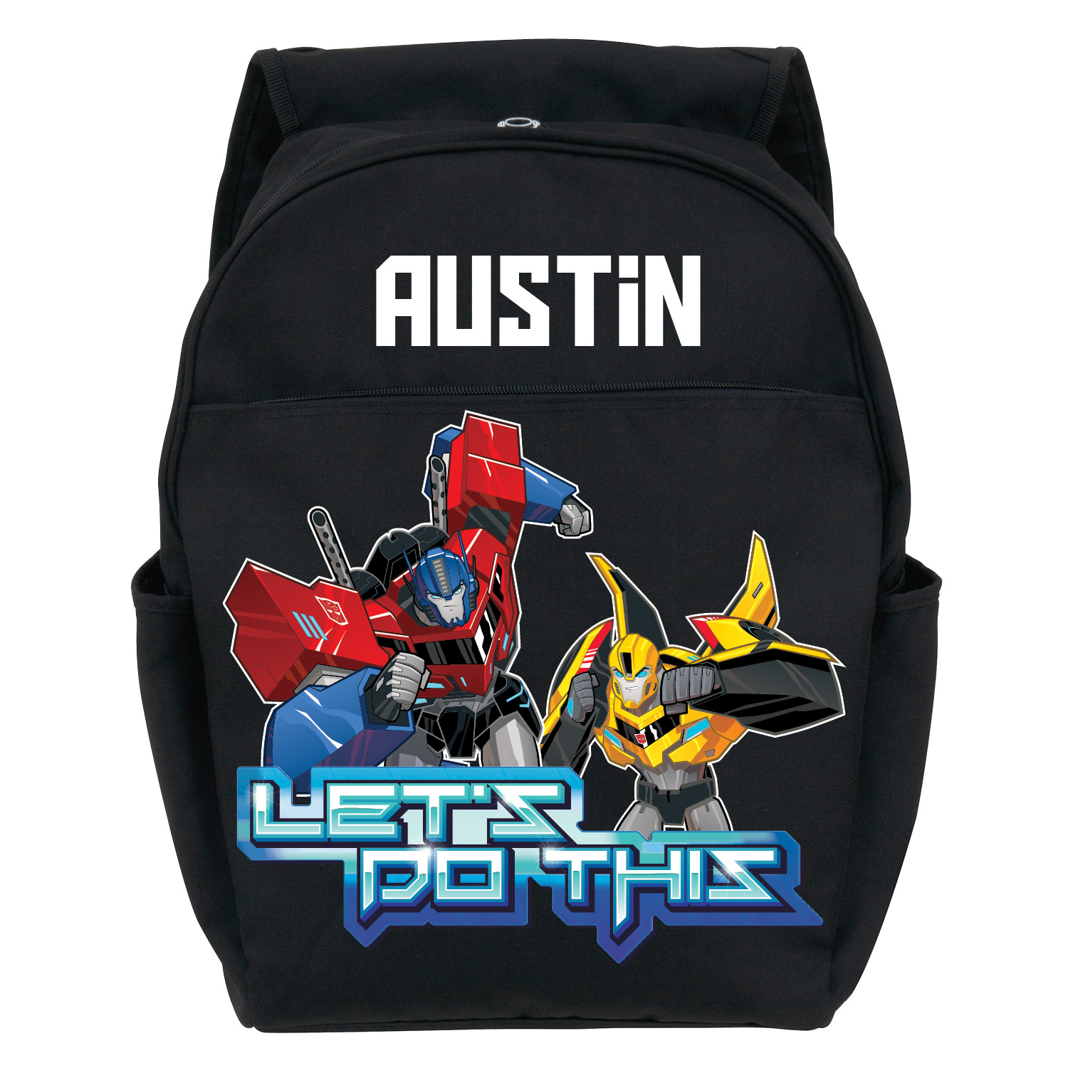 Personalized Youth Black Backpack - Transformers Robots in Disguise Let's Do This