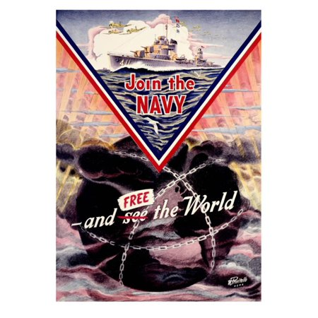- WWII US Navy 'Join the Navy' Mine sweeper Poster Print Wall Art