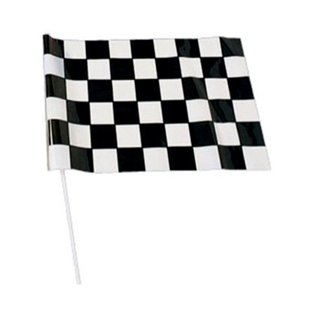 1 x 1.5' Race Flags Plastic Dowel Parade Checkered Flags (Checkered Flag Emoji)