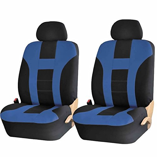 4PC BLUE BLACK DBL STICH POLYESTER FRONT CAR SEAT COVERS SET UNIVERSAL SUV