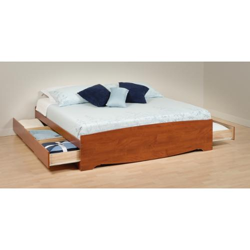 Prepac Chelsea Cherry King Mateu0027s Platform Storage Bed With 6 Drawers